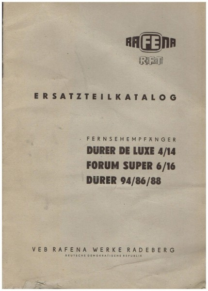 Ersatzteilkatalog für Dürer De LUXE 4/14 DDR