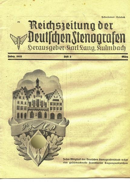 Reichszeitung der Deutschen Stenografen Heft 3 von 1935