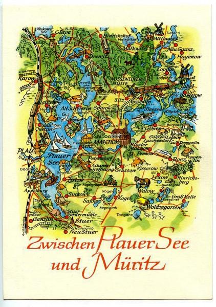 Ansichtskarte DDR Zwischen Plauer See und Müritz