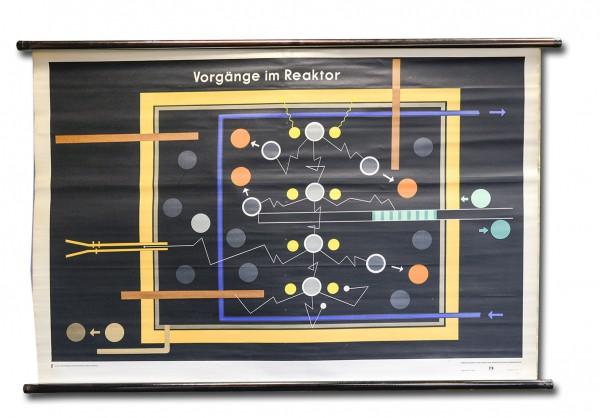 DDR Wandkarte Künstliche Vorgänge im Reaktor | Rollkarte | Schulwandkarte | OSTALGIE