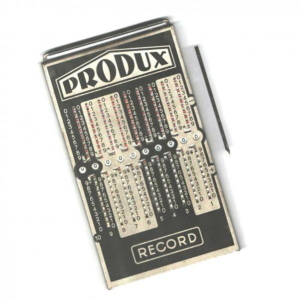 Alter Rechenapparat/Rechenschieber Produx Record mit Schiebestift un Etui