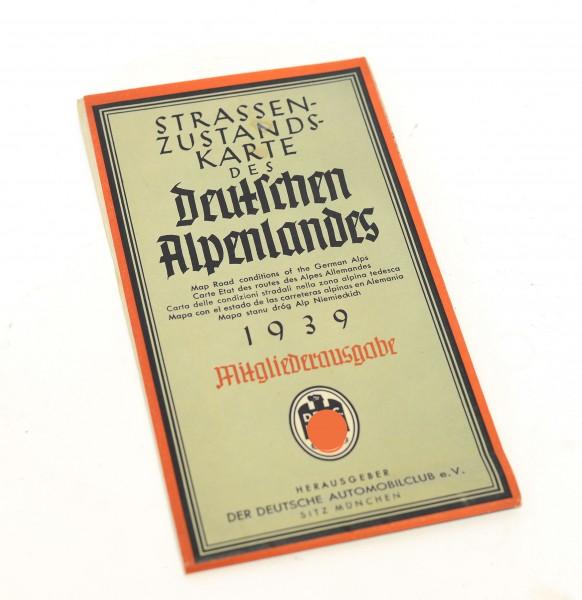 Strassenzustandskarte des Deutschen Alpenlandes 1939