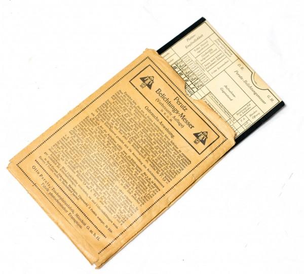 origin. Perutz Belichtungsmesser- Tabelle. f. Belichtungseinstellungen um. 1920?