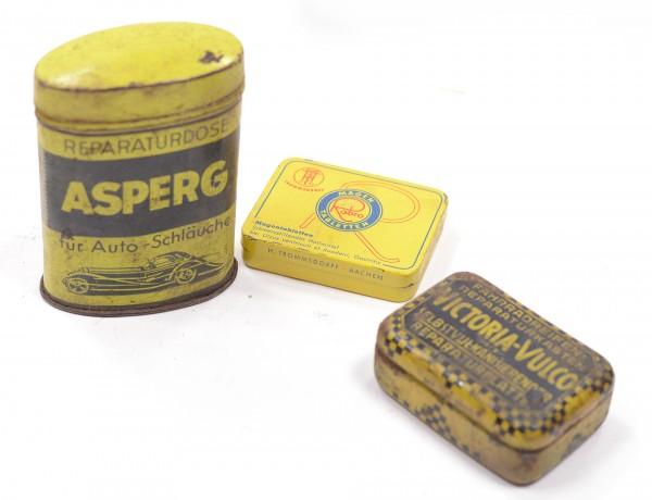 3 kleine Blechdosen antik im Set Vintage