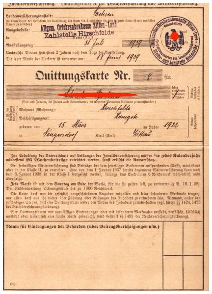 NS Quittungskarte mit 6 Marken : Invalidenversicherung | 3. Reich | WW2