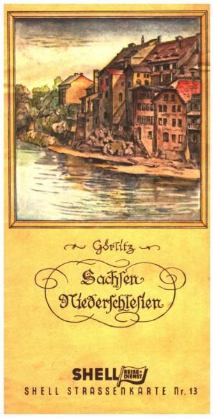 Shell Straßenkarte Nr. 13 - Sachsen - Schlesien um 1940