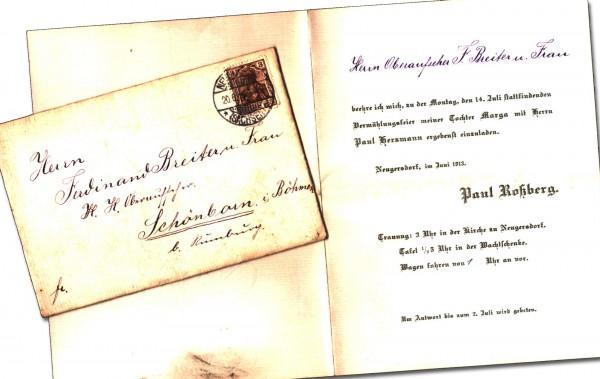 schöne alte Einladungskarte zur Hochzeit / Vermählung 1913