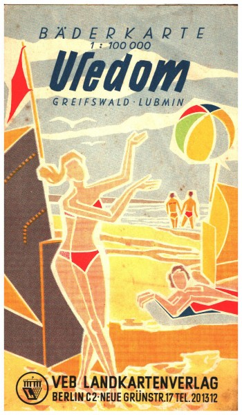 Bäderkarte Usedom-Greifswald-Lubmin 1957 DDR