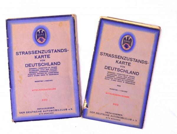 2x Strassenzustandskarten von Deutschland 1939 Nord - Süd D.D.A.C.