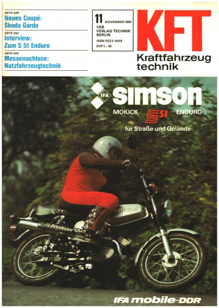 DDR KFT 11 /1981 Kraftfahrzeugtechnik S51 Enduro