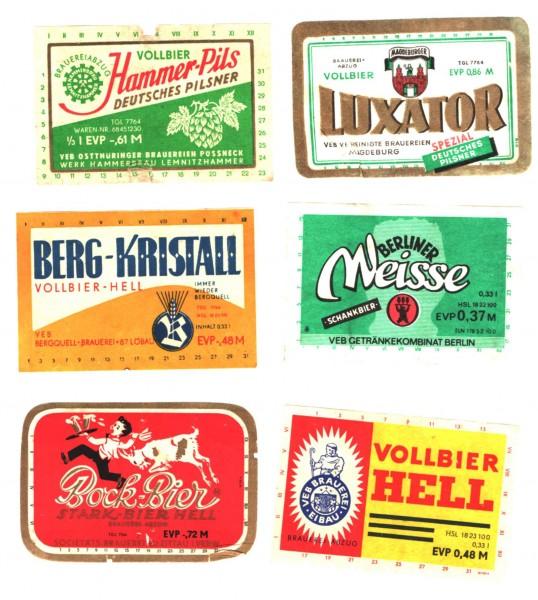 6 Stk. Bieretiketten DDR siehe Bilder