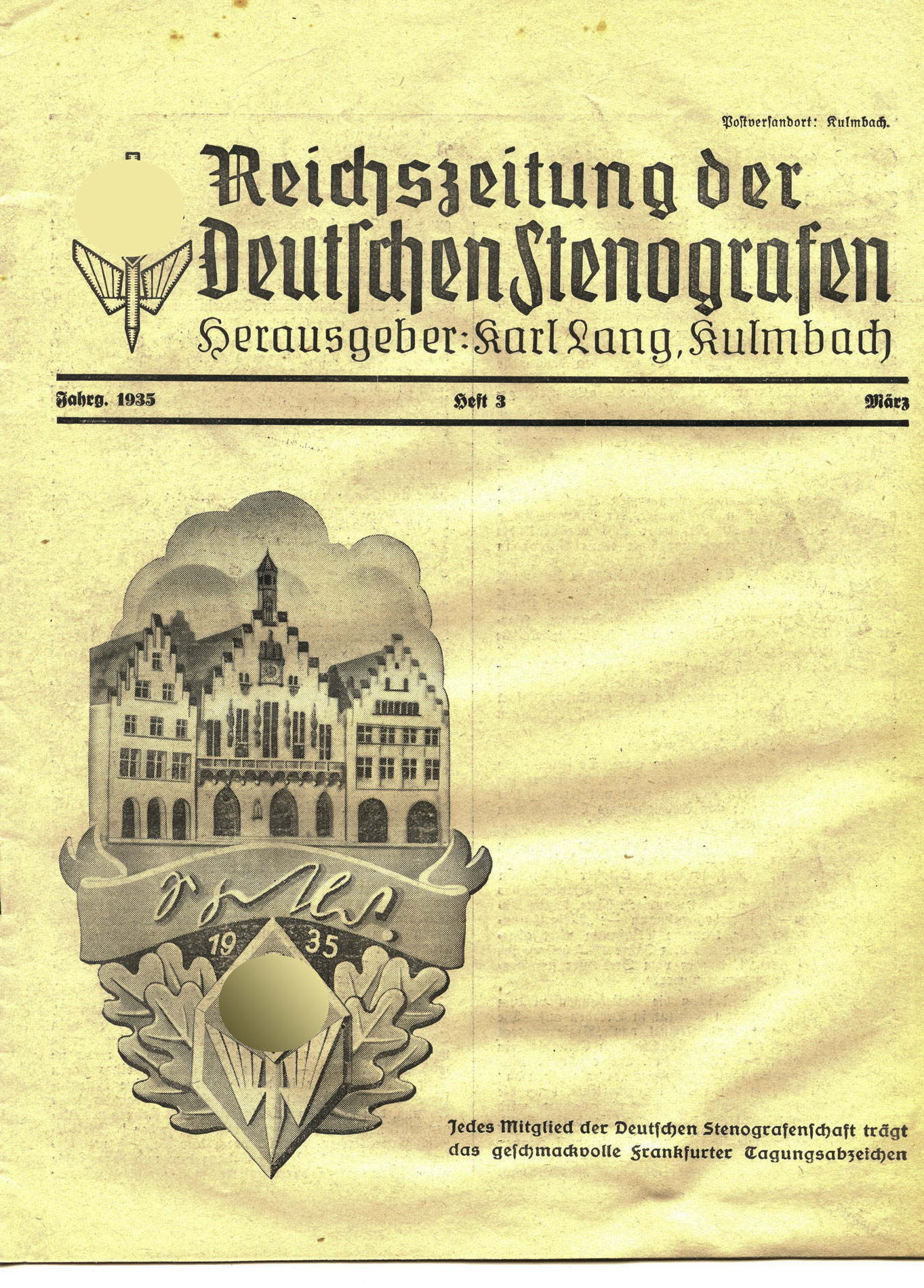 reichszeitung der deutschen stenografen heft 3 von 1935 fund kiste antik ostalgie fundst cke. Black Bedroom Furniture Sets. Home Design Ideas