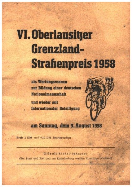 Infoblatt z. 6. Oberlausitzer Grenzland-Straßenpreis 1958