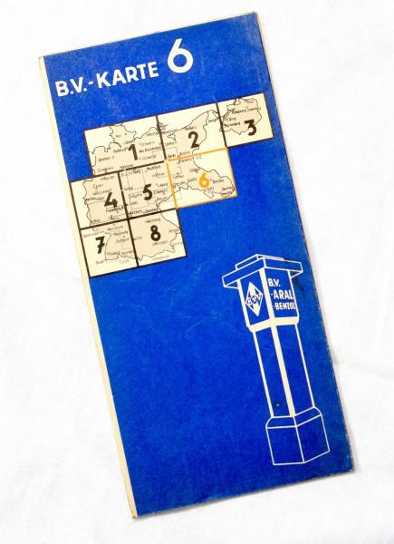Historische ARAL B.V. Karte Nr. 6 ''die blauen'' mit v. Stadtpl. Schlesien Glogau Breslau Gleiwitz