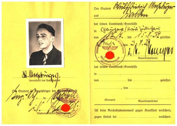 Einsatzpass für Erntehilfe 1939 Nr. 055035 3. Reich