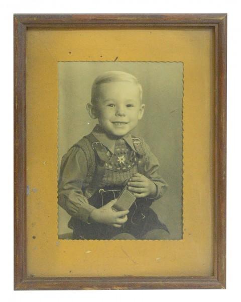Portraitfoto kl. Junge Bube 1930iger DEKO shabby gerahmt alt