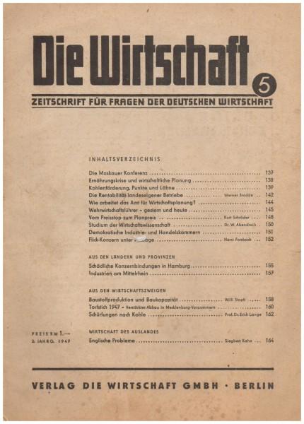Die Wirtschaft 2. Jahrgang 1942 aus Sicht der sowj. Besatzungszone