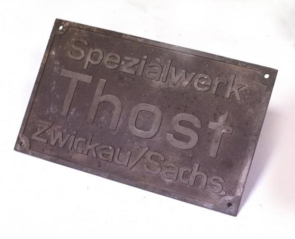 seltenes Firmenschild Spezialwerke Thost Zwickau / Sach. 1935 - 19
