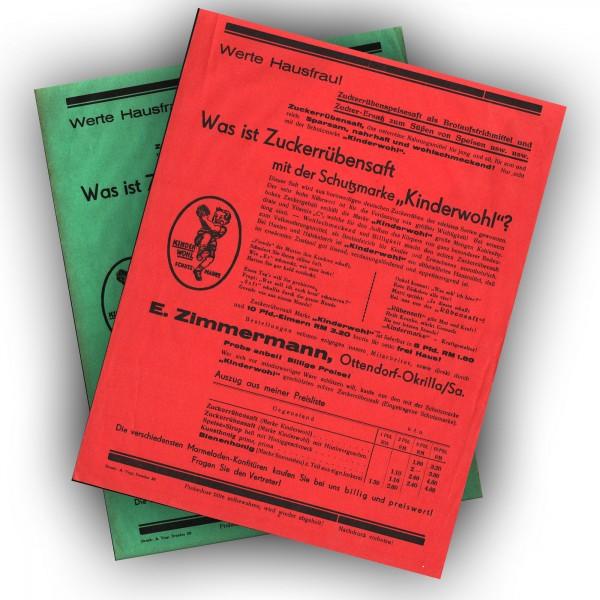 Werbung 30er 40er Zuckerrübensaft Kinderwohl E. Zimmermann Ottendorf-Okrilla