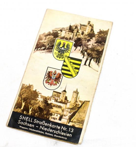Shell Straßenkarte Nr. 13. Sachsen - Niederschlesien.,Maßstab: 1:470.000.
