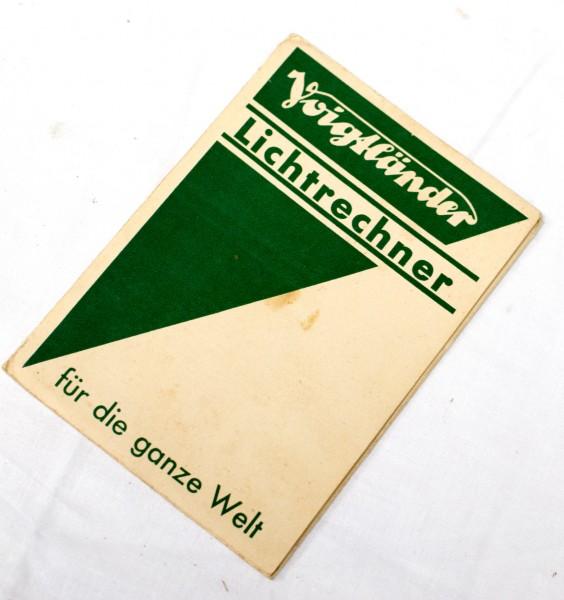 origin. Voigtländer Lichtrechner Tabelle. f. Belichtungseinstellungen um. 1920?